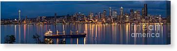Elliott Bay Seattle Skyline Night Reflections  Canvas Print by Mike Reid
