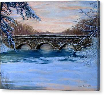 Elm Street Bridge On A Winter's Morn Canvas Print by Jack Skinner