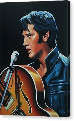 Elvis Presley 3 Painting Canvas Print by Paul Meijering