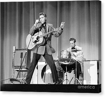 Elvis Presley And D.j. Fontana Performing In 1956 Canvas Print by The Phillip Harrington Collection