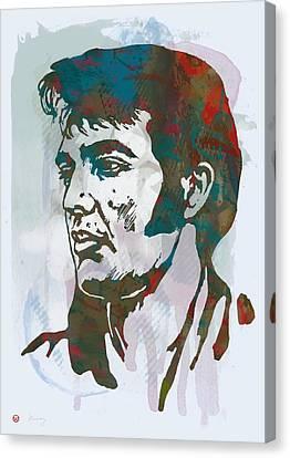 Elvis Presley - Modern Etching  Pop Art Poster Canvas Print by Kim Wang