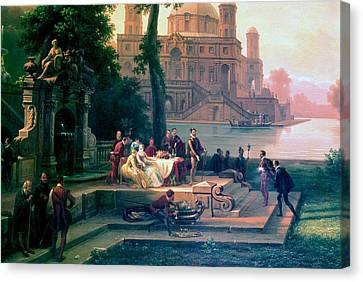 Emanuele Filiberto Receives Torquato Tasso In The Gardens Of The Park Canvas Print by Massimo D Azeglio