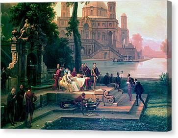 Emanuele Filiberto Receives Torquato Tasso In The Gardens Of The Park Canvas Print by Massimo D Azeglio