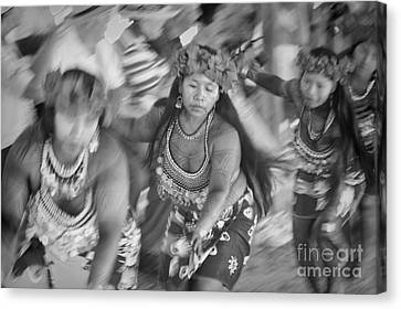 Embera Villagers In Panama As Black And White Canvas Print by David Smith