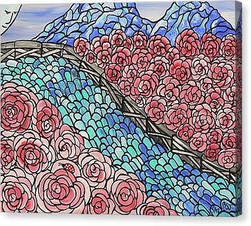 Emerald River Roses Canvas Print by Barbara St Jean