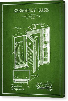 Emergency Case Patent From 1904 - Green Canvas Print by Aged Pixel