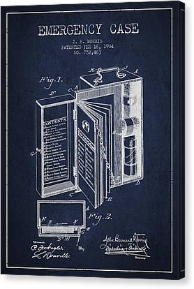 Emergency Case Patent From 1904 - Navy Blue Canvas Print by Aged Pixel