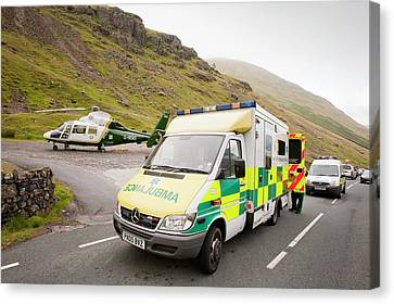 Emergency Services At Crash Site Canvas Print by Ashley Cooper