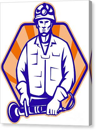 Emergency Worker With Angle Grinder Tool Retro Canvas Print by Aloysius Patrimonio