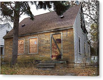 Eminem's Childhood Home Taken On November 11 2013 Canvas Print by Nicholas  Grunas