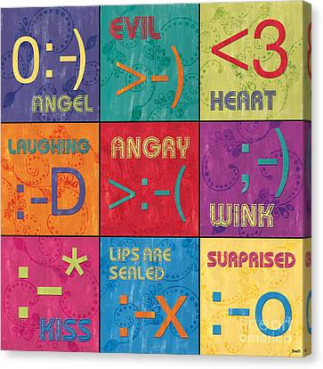 Emoticons Patch Canvas Print by Debbie DeWitt