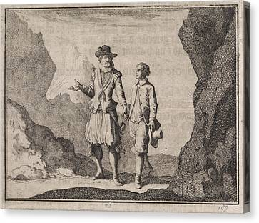 Emperor Maximilian And His Guardian Angel In A Rocky Canvas Print by Caspar Luyken And Christoph Weigel