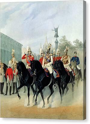 Emperor Nicholas I And Grand Duke Alexander In St Petersburg Canvas Print by Karl Karlovich Piratsky