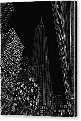 Empire Nyc White On Black Canvas Print by Meandering Photography