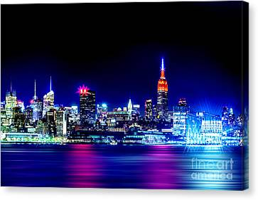 Empire State At Night Canvas Print by Az Jackson