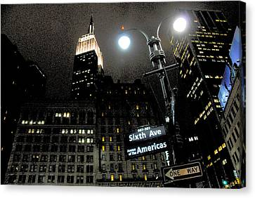 Empire State Building At Night Canvas Print by Ivo Kerssemakers