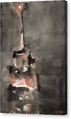 Empire State Building Coral And Black Watercolor Paintings Of Nyc Canvas Print by Beverly Brown Prints