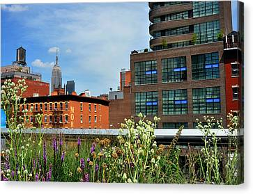 Empire State Building From The High Line Canvas Print by Diane Lent
