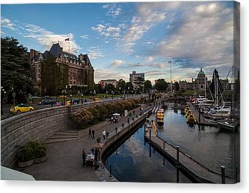 Empress Hotel And Victoria Harbor Canvas Print by Mike Reid