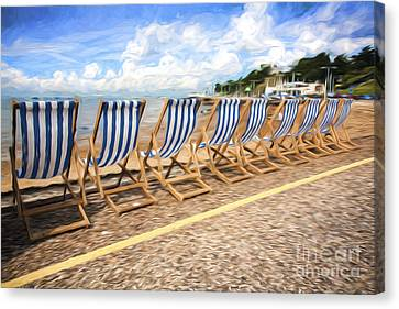 Empty Deckchairs At Southend On Sea Canvas Print by Avalon Fine Art Photography