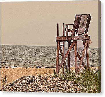 Empty Lifeguard Chair Canvas Print by Rita Brown