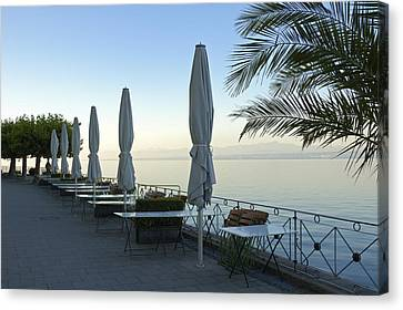 Empty Promenade In The Morning Meersburg Lake Constance Canvas Print by Matthias Hauser