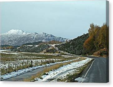 Empty Scottish Roads In The Highlands Canvas Print by Gill Billington