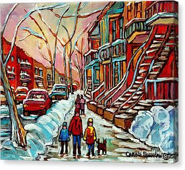 En Hiver Streets Of Verdun Walking The Dog Snowy Streets Montreal Winter City Scene Carole Spandau Canvas Print by Carole Spandau