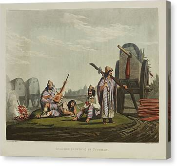 Encampment With Wagons Canvas Print by British Library