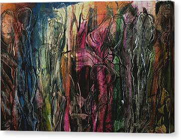 Encounter On The Roadside Canvas Print by Sharon Farrah