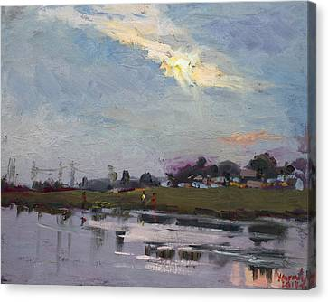 End Of Day By Elmer's Pond Canvas Print by Ylli Haruni