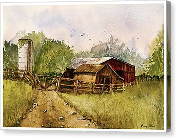 End Of The Gravel Road Canvas Print by Barry Jones