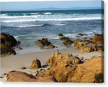 Energizing Seascape At Spanish Bay Canvas Print by Joyce Dickens