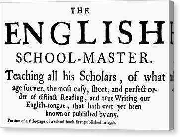 England Schoolbook, 1596 Canvas Print by Granger