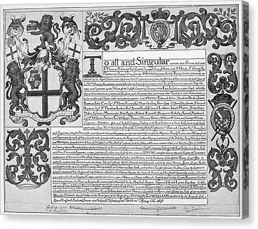 England Trade Charter Canvas Print by Granger