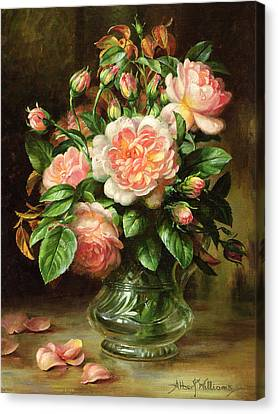 English Elegance Roses In A Glass Canvas Print by Albert Williams