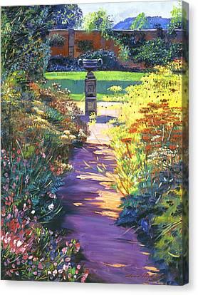 English Garden Urn Canvas Print by David Lloyd Glover