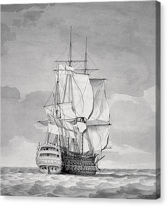 English Line-of-battle Ship, 18th Century Canvas Print by Charles Brooking