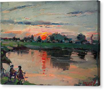 Enjoying The Sunset By Elmer's Pond Canvas Print by Ylli Haruni