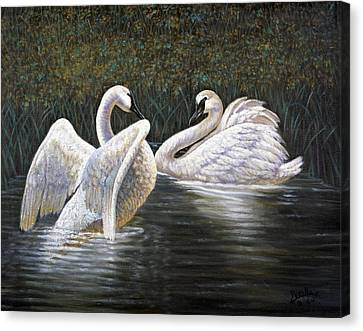 Enjoying The Trumpeter Swans Canvas Print by Gregory Perillo