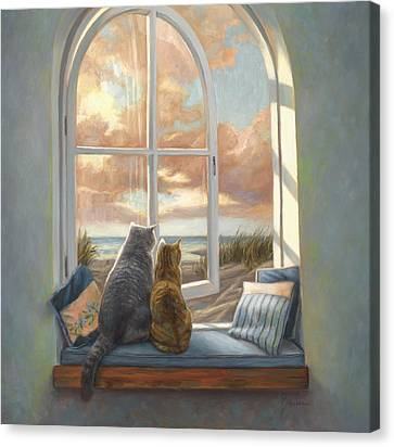 Enjoying The View Canvas Print by Lucie Bilodeau