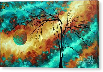Enormous Abstract Art Brilliant Colors Original Contemporary Painting Reaching For The Moon Madart Canvas Print by Megan Duncanson