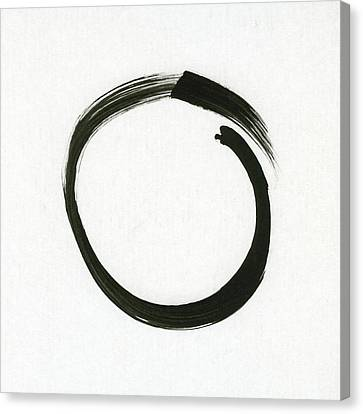 Enso #1 - Zen Circle Minimalistic Black And White Canvas Print by Marianna Mills