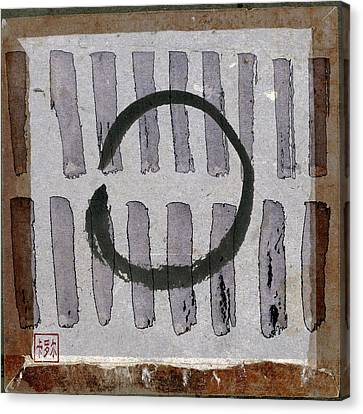 Enso Circle On Japanese Papers Canvas Print by Carol Leigh