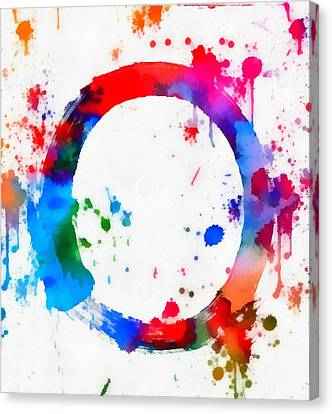 Enso Circle Paint Splatter Canvas Print by Dan Sproul