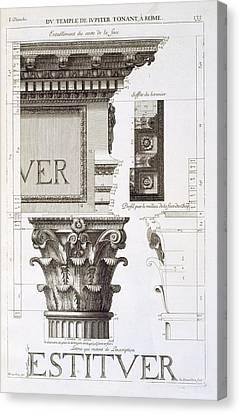Entablature, Capital And Inscription Canvas Print by Antoine Babuty Desgodets