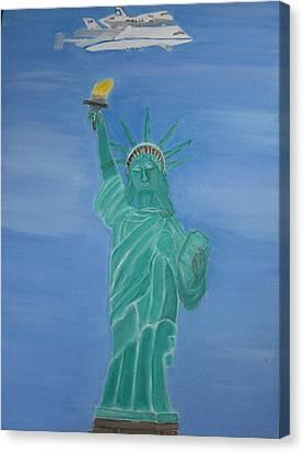 Enterprise On Statue Of Liberty Canvas Print by Vandna Mehta