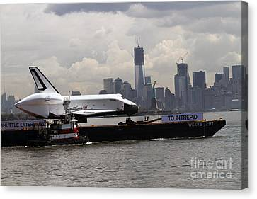 Enterprise To The Intrepid Air And Space Museum Canvas Print by Steven Spak