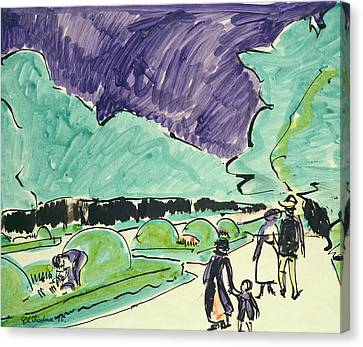 Entrance To A Large Garden In Dresden Canvas Print by Ernst Ludwig Kirchner