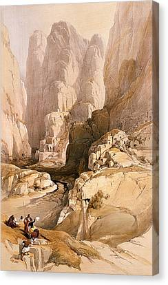 Entrance To Petra Canvas Print by David Roberts